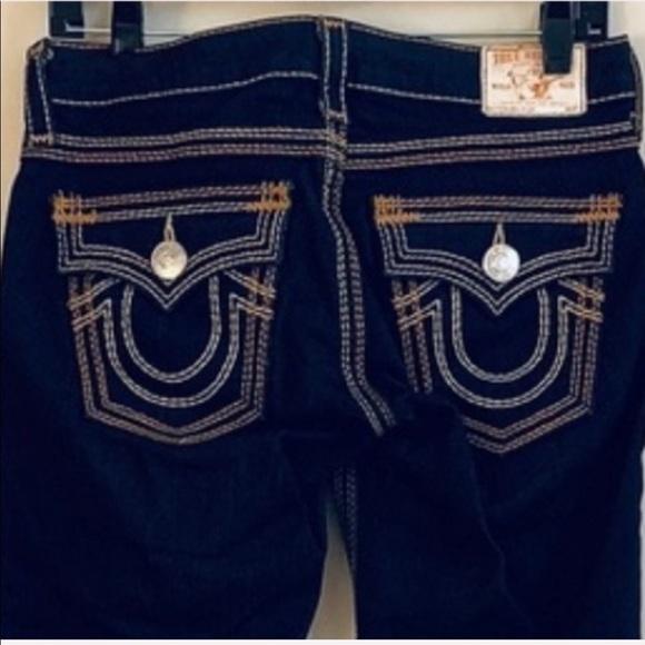 True Religion Denim - True Religion Billy QT Yellow Topstitch Blue Jeans